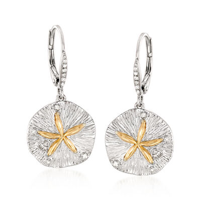 Sterling Silver and 14kt Gold Sand Dollar Drop Earrings with .10 ct. t.w. Diamonds, , default