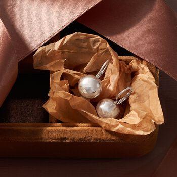 Italian 14mm Sterling Silver Bead Drop Earrings, , default