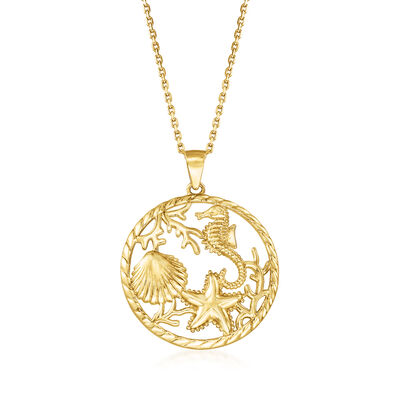 18kt Yellow Gold Over Sterling Silver Sea Life Pendant Necklace, , default