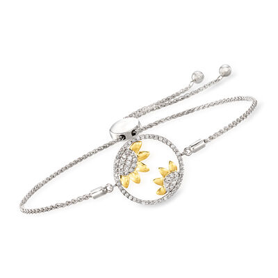 .38 ct. t.w. Diamond Sunflower Bolo Bracelet in Sterling Silver with 14kt Yellow Gold