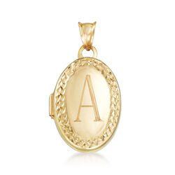 Italian 14kt Yellow Gold Diamond-Cut and Polished Single Initial Oval Locket, , default