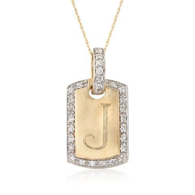 .30 ct. t.w. Diamond Single Initial ID Tag Pendant Necklace in 14kt Yellow Gold, , default