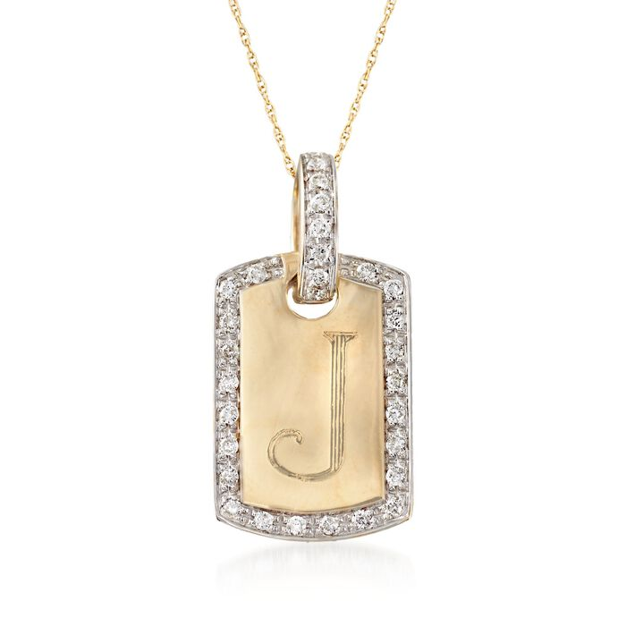 .30 ct. t.w. Diamond Single Initial ID Tag Pendant Necklace in 14kt Yellow Gold