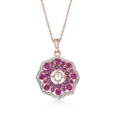1.90 ct. t.w. Multi-Gemstone Pendant Necklace in 18kt Rose Gold Over Sterling, , default