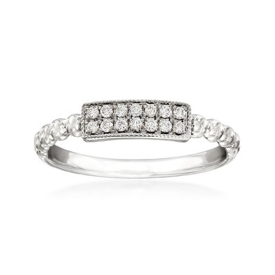 .12 ct. t.w. Diamond Two-Row Milgrain and Beaded Ring in 14kt White Gold, , default