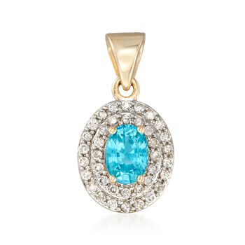 1.40 Carat Oval Blue Zircon and .38 ct. t.w. Diamond Double Halo Pendant in 14kt Gold, , default