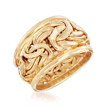 14kt Yellow Gold Byzantine Link Ring, , default