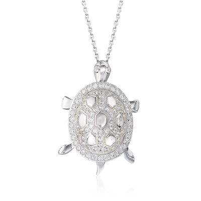 1.22 ct. t.w. CZ Turtle Pendant Necklace in Sterling Silver, , default