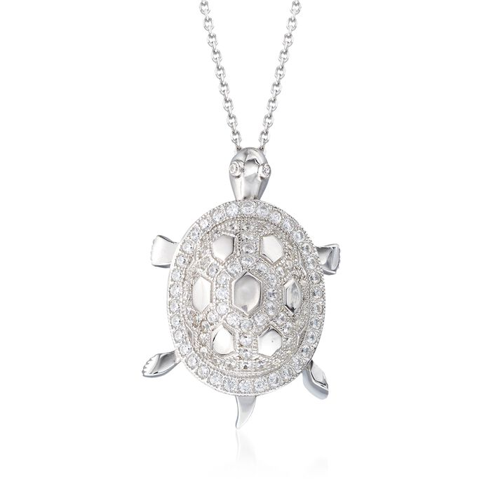 "1.22 ct. t.w. CZ Turtle Pendant Necklace in Sterling Silver. 18"", , default"