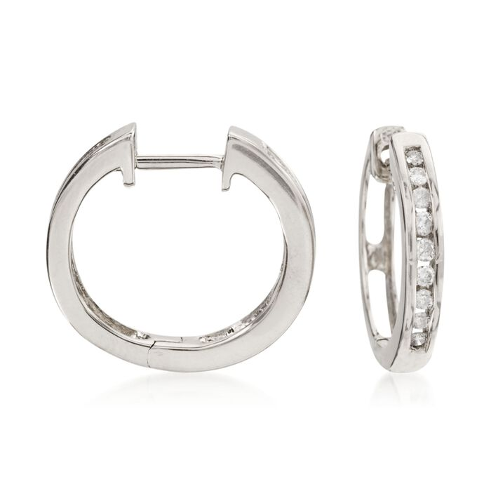 .25 ct. t.w. Diamond Hoop Earrings in 14kt White Gold. 1/2""
