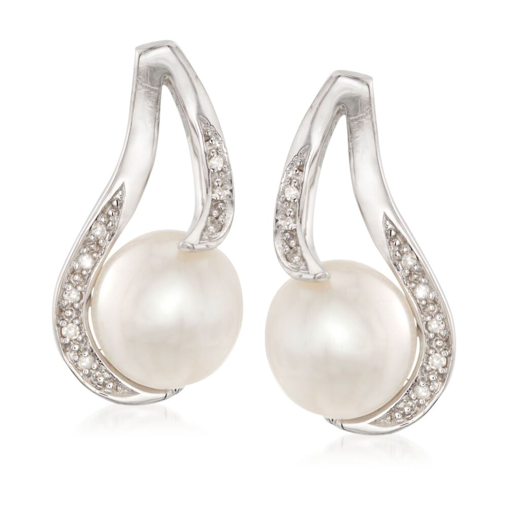 0998ffead1cdd 9-9.5mm Cultured Pearl Earrings with Diamond Accents in Sterling Silver