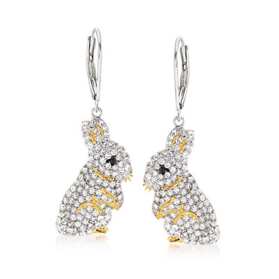 2.10 ct. t.w. White Topaz Bunny Drop Earrings in Two-Tone Sterling Silver