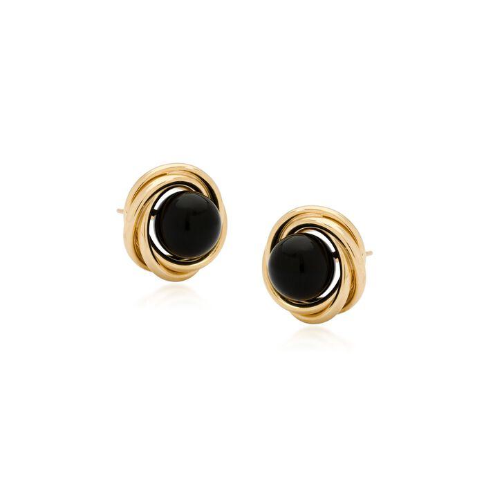 8mm Black Onyx Love Knot Earrings in 14kt Yellow Gold