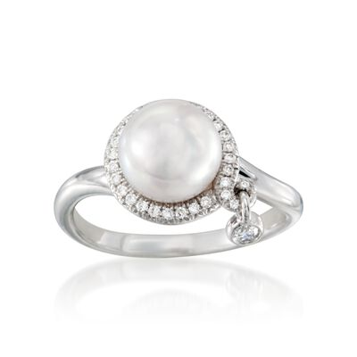 Mikimoto 8mm Akoya Pearl Ring With Diamonds in 18kt White Gold, , default