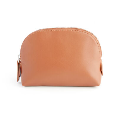 Royce Tan Leather Cosmetic Case