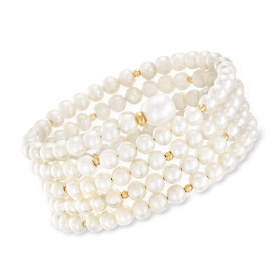 5-9mm Cultured Pearl Multi-Row Wrap Bracelet with 14kt Yellow Gold, , default