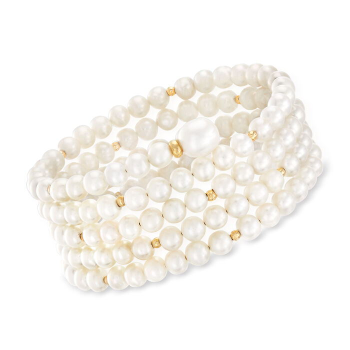 5-9mm Cultured Pearl Multi-Row Wrap Bracelet with 14kt Yellow Gold. 6.5""