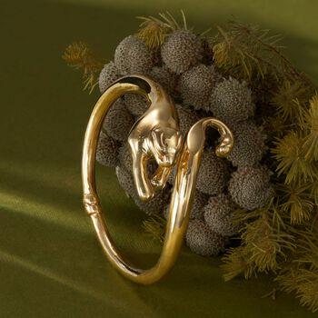 Italian 18kt Gold Over Sterling Panther Bypass Bangle Bracelet, , default