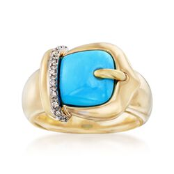 Sleeping Beauty Turquoise Buckle Ring With Diamond Accents in 14kt Yellow Gold, , default