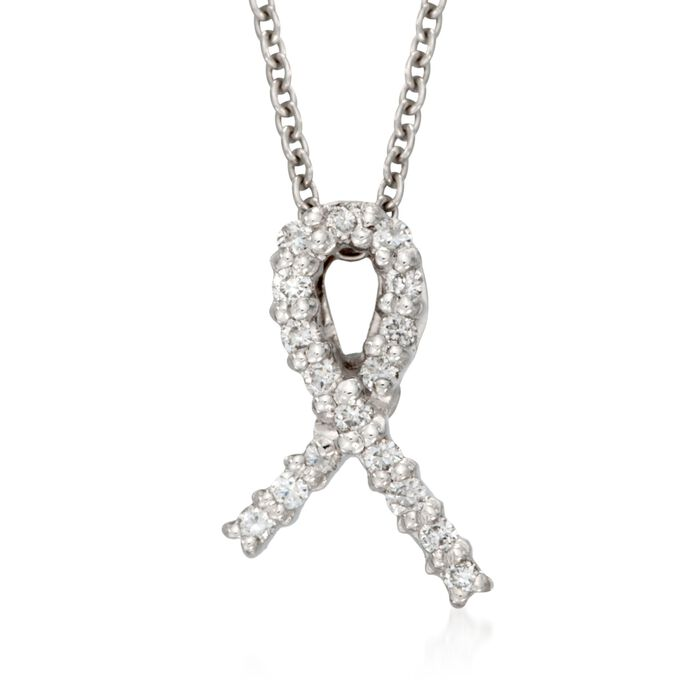 "Roberto Coin Tiny Treasure ""Hope"" Diamond Accent Necklace in 18kt White Gold"