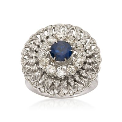 C. 1960 Vintage 1.25 Carat Sapphire and 1.80 ct. t.w. Diamond Ring in 18kt White Gold    , , default