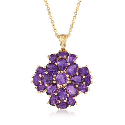 5.60 ct. t.w. Amethyst Floral Pendant Necklace in 18kt Gold Over Sterling