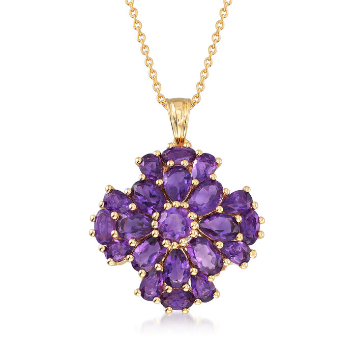 5.60 ct. t.w. Amethyst Floral Pendant Necklace in 18kt Gold Over Sterling. 18""