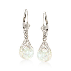 Floating Opal Drop Earrings in 14kt White Gold, , default