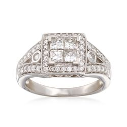C. 1980 Vintage 1.10 ct. t.w. Diamond Halo Ring in 14kt White Gold. Size 7, , default