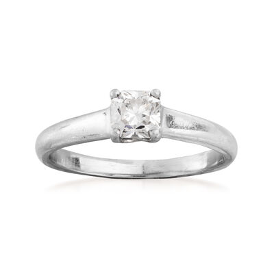 09a71053a C. 1990 Vintage Tiffany Jewelry .53 Carat Diamond Solitaire Ring in  Platinum, ,