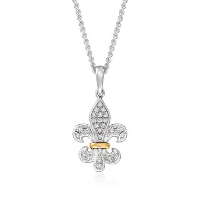 Diamond-Accented Fleur-De-Lis Pendant Necklace in Sterling Silver with 14kt Yellow Gold