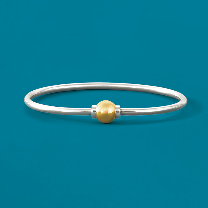 Cape Cod Jewelry Sterling Silver and 14kt Yellow Gold Bangle Bracelet
