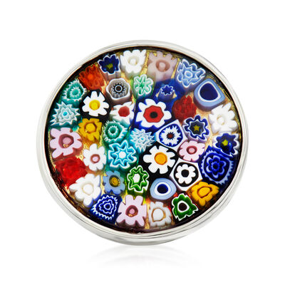 Italian Murano Millefiori Round-Top Ring in Sterling Silver