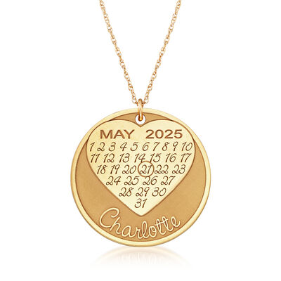 Heart Name Calendar Necklace in 14kt Yellow Gold, , default