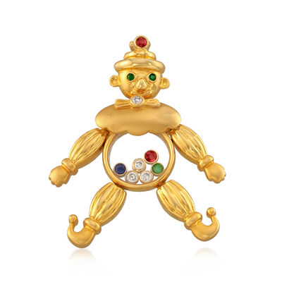 C. 1980 Vintage .15 ct. t.w. Diamond and .14 ct. t.w. Multi-Gemstone Clown Pendant Necklace in 18kt Yellow Gold, , default