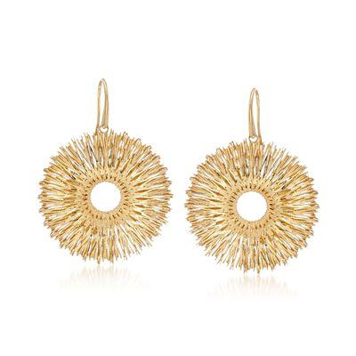 Italian 14kt Yellow Gold Wire-Wrapped Sunburst Drop Earrings, , default