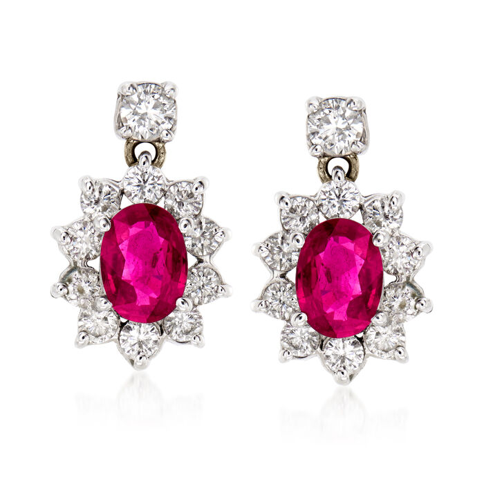 C. 1970 Vintage 1.90 ct. t.w. Ruby and 1.25 ct. t.w. Diamond Drop Earrings in 14kt White Gold