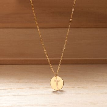Italian 14kt Yellow Gold Cross Cutout Disc Pendant Necklace