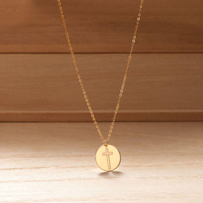 Italian 14kt Yellow Gold Cross Cutout Disc Pendant Necklace