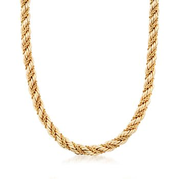 """C. 1990 Vintage Tiffany Jewelry 14kt Yellow Gold Twisted Rope Necklace. 17"""", , default"""