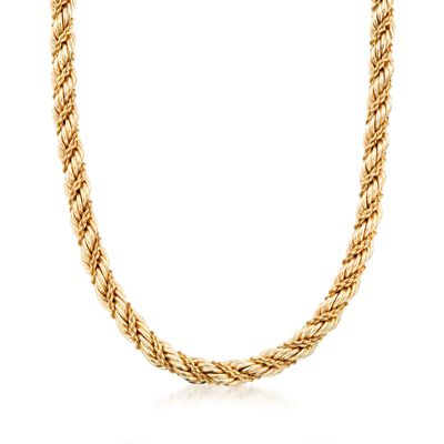 C. 1990 Vintage Tiffany Jewelry 14kt Yellow Gold Twisted Rope Necklace, , default