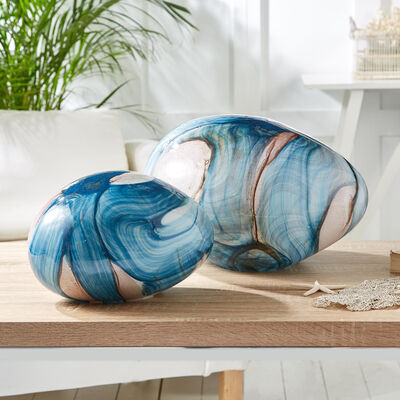 Set of Two Blue Watercolor Free-Form Lamps, , default