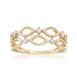 .10 ct. t.w. Diamond Double Row Openwork Ring in 14kt Yellow Gold, , default