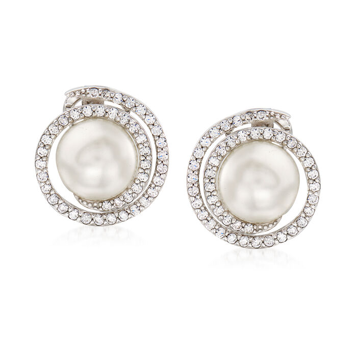 """Belle Etoile """"Thea"""" Simulated Pearl and .84 ct. t.w. CZ Swirl Earrings in Sterling Silver, , default"""
