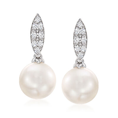 9-10mm Cultured South Sea Pearl and .21 ct. t.w. Diamond Earrings in 18kt White Gold