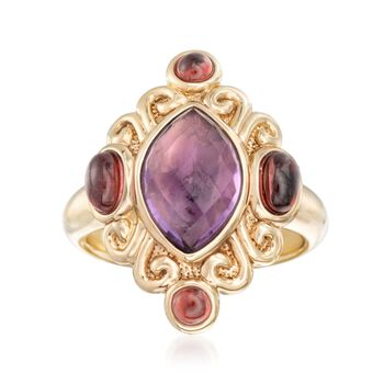 2.40 Carat Amethyst and 1.40 ct. t.w. Garnet Ring in 14kt Yellow Gold. Size 7, , default