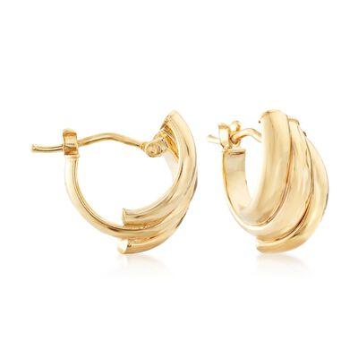 Italian 14kt Yellow Gold Three-Row Diamond-Cut Hoop Earrings , , default