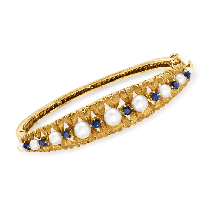 """C. 1980 Vintage 3-5.5mm Cultured Pearl and 1.20 ct. t.w. Sapphire Bangle Bracelet in 14kt Yellow Gold. 6.5"""""""