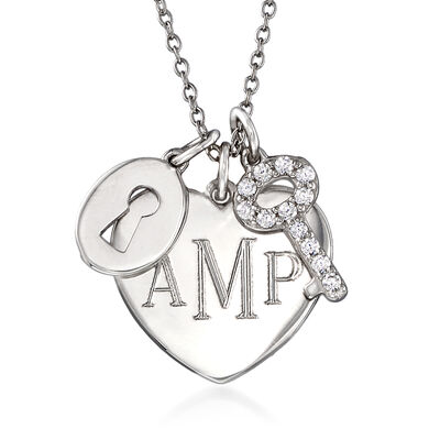 .30 ct. t.w. CZ Personalized Lock and Key Heart Pendant Necklace in Sterling Silver, , default