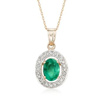 """1.80 Carat Emerald and .18 ct. t.w. Diamond Pendant Necklace in 14kt Yellow Gold. 18"""", , default"""